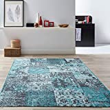 Revive Modern Teal Blue Distressed Soft Polypropylene Classical Patchwork Traditional Living Room Rugs