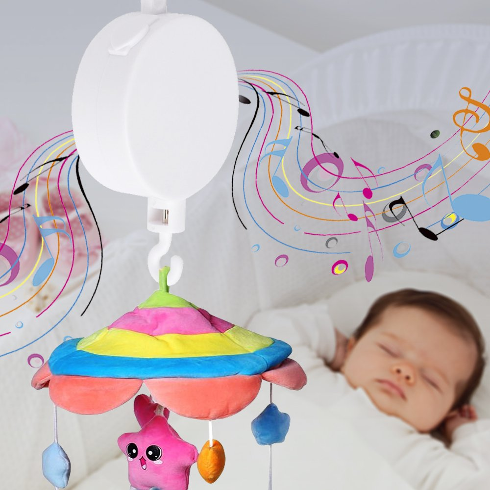 Brackets or Toys not Included ,Free Shipping Windup Movement Music Box Baby Mobile Crib Rotating Bed Bell Tune:Brahms Lullaby Colorfulstream