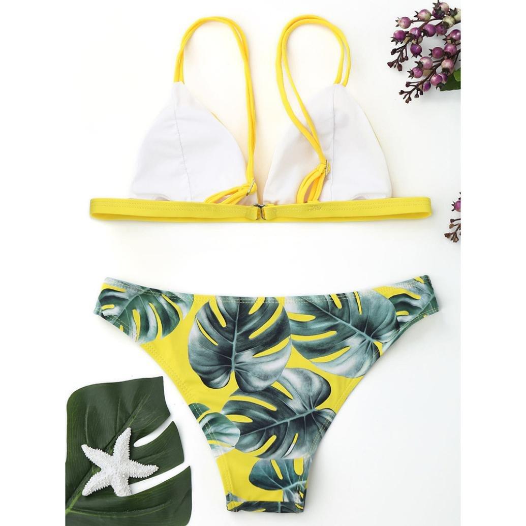 Bikinis mujer, Amlaiworld Conjunto bikini mujer traje de baño hojas de impresión Push-Up acolchado bañador de baño Beachwear bañador natación mujer: ...