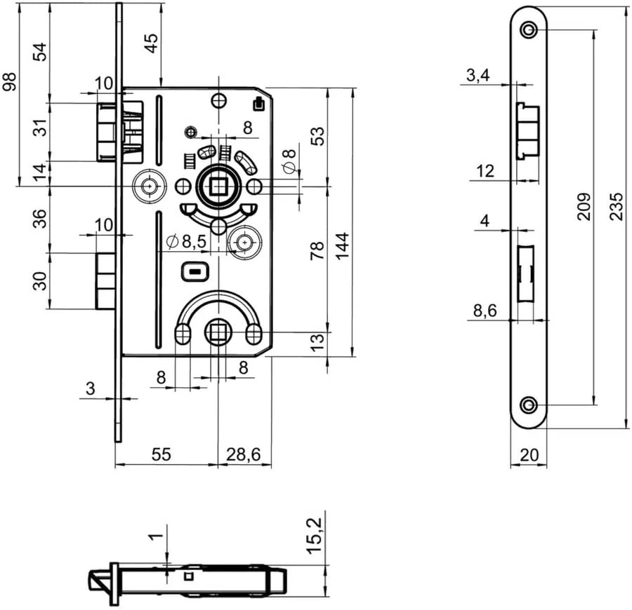 Ideal f/ür Toiletten-T/üren Elegantes Design Premium M4TEC ZD5 WC//Badt/ür-Einsteckschloss Innenraumt/ür Klasse 2 Stulpplatte Farbe Limba haltbar /& leichte Montage Robust DIN R Eintourig