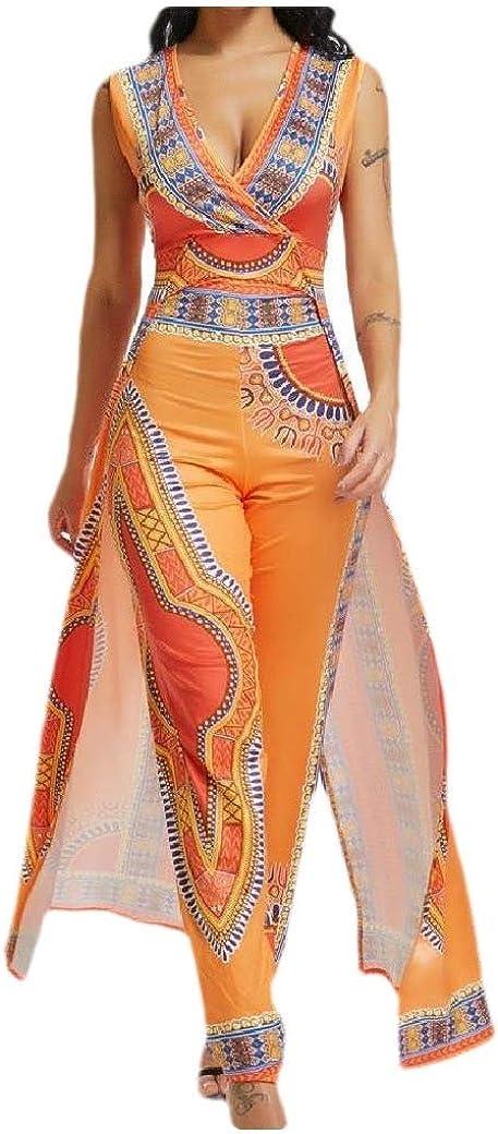 Fseason-Women Skinny V Neck Curvy Sleeveless African Dashiki Playsuit