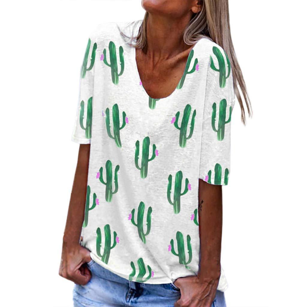 Women's Basic Round Neck Short Sleeve T Shirts Summer Casual Tops Cactus Print Tee Tops by Jianekolaa White by Jianekolaa_Tops