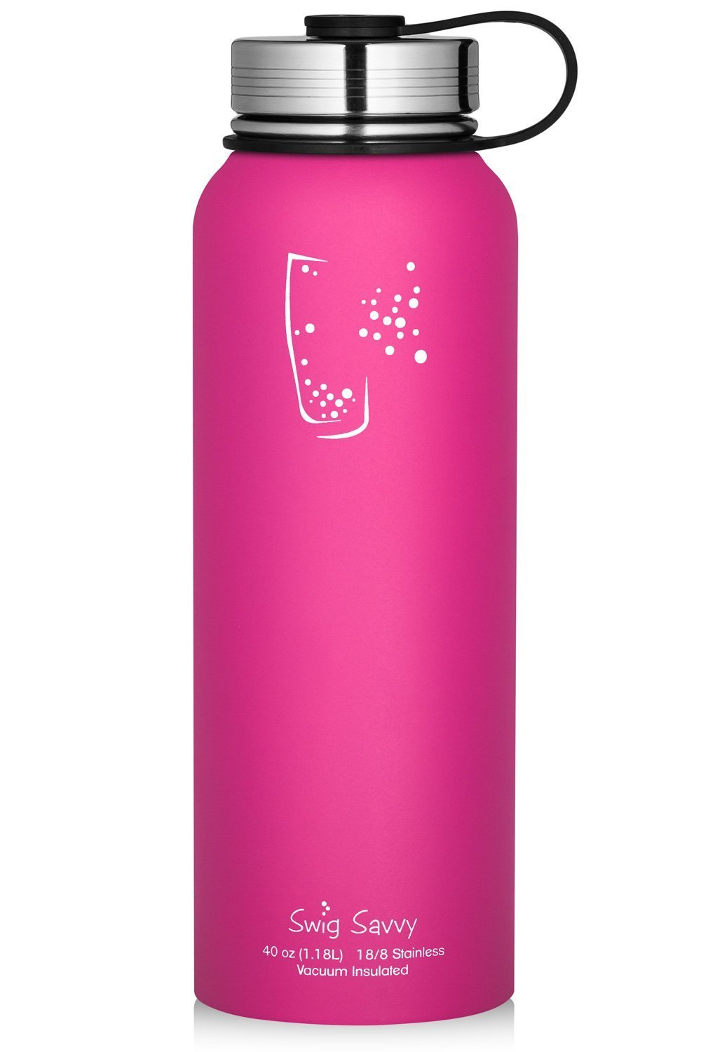 SWIG SAVVY Stainless Steel Sports Water Bottle - with Vacuum Insulated Double Wall & Wide Mouth Leak Proof Cap - Reusable Sweat Proof Thermos Flask for Hot & Cold Drinks - BPA Free - 40oz