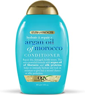 OGX Extra Strength Hydrate & Repair + Argan Oil of Morocco Conditioner for Dry, Damaged Hair, Cold-Pressed Argan Oil to Moisturize Hair, Paraben-Free, Sulfate-Free Surfactants, 13 fl oz