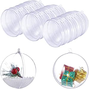 15 Set DIY Plastic Bath Bomb Mold 30 Pieces for Crafting Your Own Fizzles, Clear Plastic Ball Ornaments Ball Shape for Craft Bath Christmas and Party Decorations 70mm