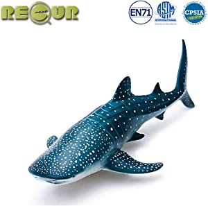 """RECUR Toys 12"""" Whale Shark Figure Toys, Soft Hand-Painted Skin Texture Ocean Life Shark Figurine Collection-Replica 1:56 Scale Realistic Whale Shark Model Replica, Ideal for Collectors, Ages 3 and Up"""