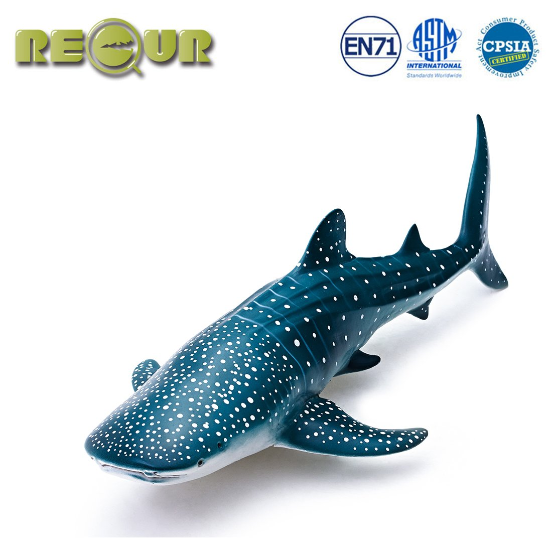 "RECUR Toys 12"" Whale Shark Figure Toys, Soft Hand-Painted Skin Texture Ocean Life Shark Figurine Collection-Replica 1:56 Scale Realistic Whale Shark Model Replica, Ideal for Collectors, Ages 3 and Up"