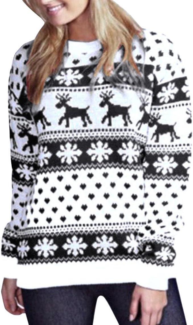 Da Donna Christmas Jumper Donna renne e fiocco di neve Natale Lavorato a Maglia Maglione Top