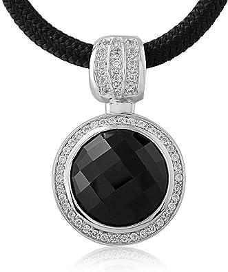 collier argent avec pierre noire