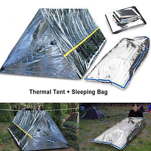 CEEBON Emergency Mylar Thermal Survival Tent and Sleeping Bag Survival...