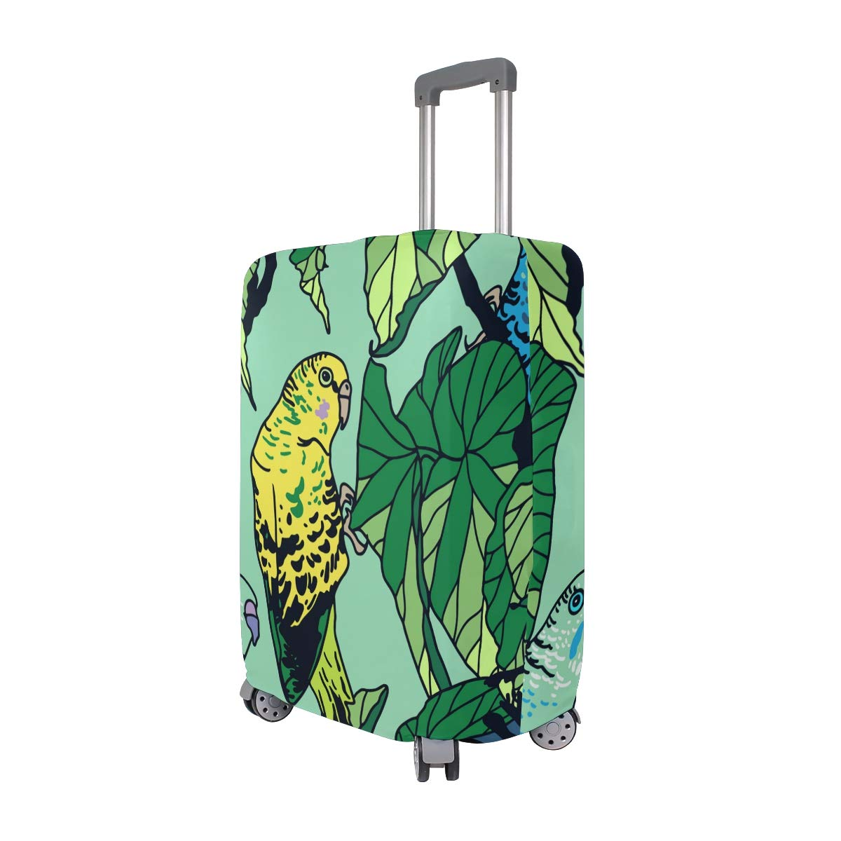 Baggage Covers Blue Yellow Budgie Tropical Palm Leaves Washable Protective Case