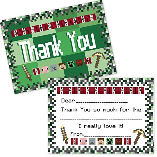 Pixel Mining Fill in The Blank Thank You Cards for Kids (20 Count with Envelopes) - Thank You Notes for Boys and ()
