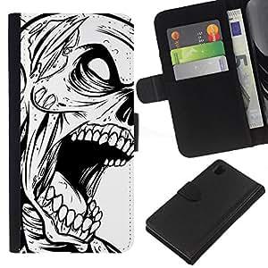YiPhone /// Tirón de la caja Cartera de cuero con ranuras para tarjetas - Zombie Cráneo gótico B & W - Sony Xperia Z1 L39