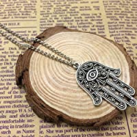 Antique silver Hamsa Hand Necklace - Evil Eye Necklace , silver necklace