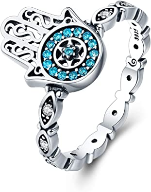 Blue CZ Everbling Unique Blue Evil Eye 925 Sterling Silver Ring