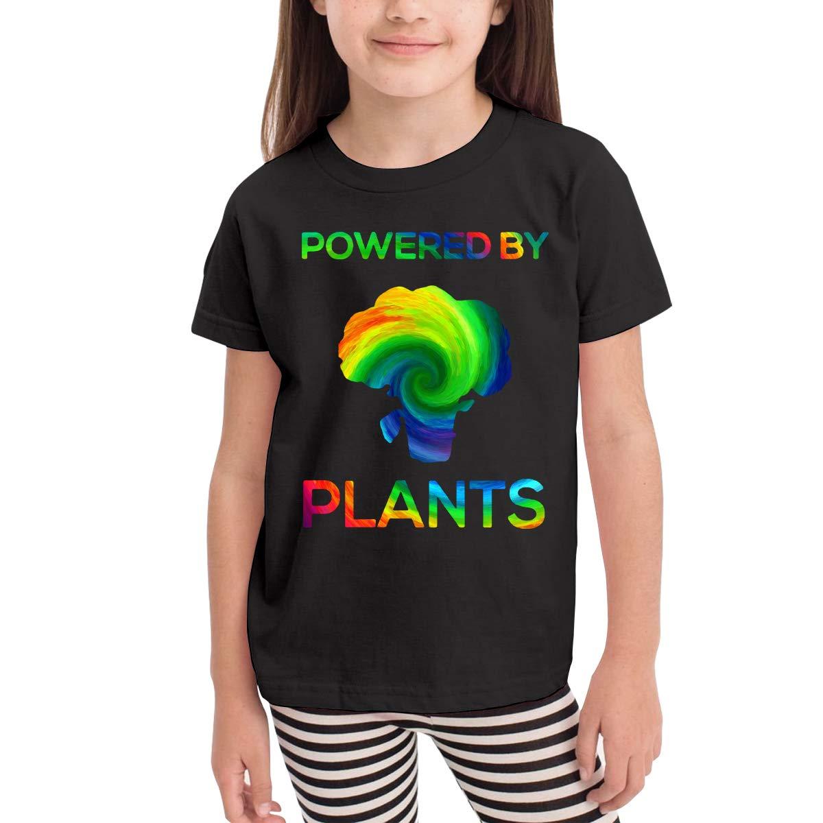 Kids T-Shirt Tops Black Powered by Plants Vegan 3D Printing Unisex Youths Short Sleeve T-Shirt