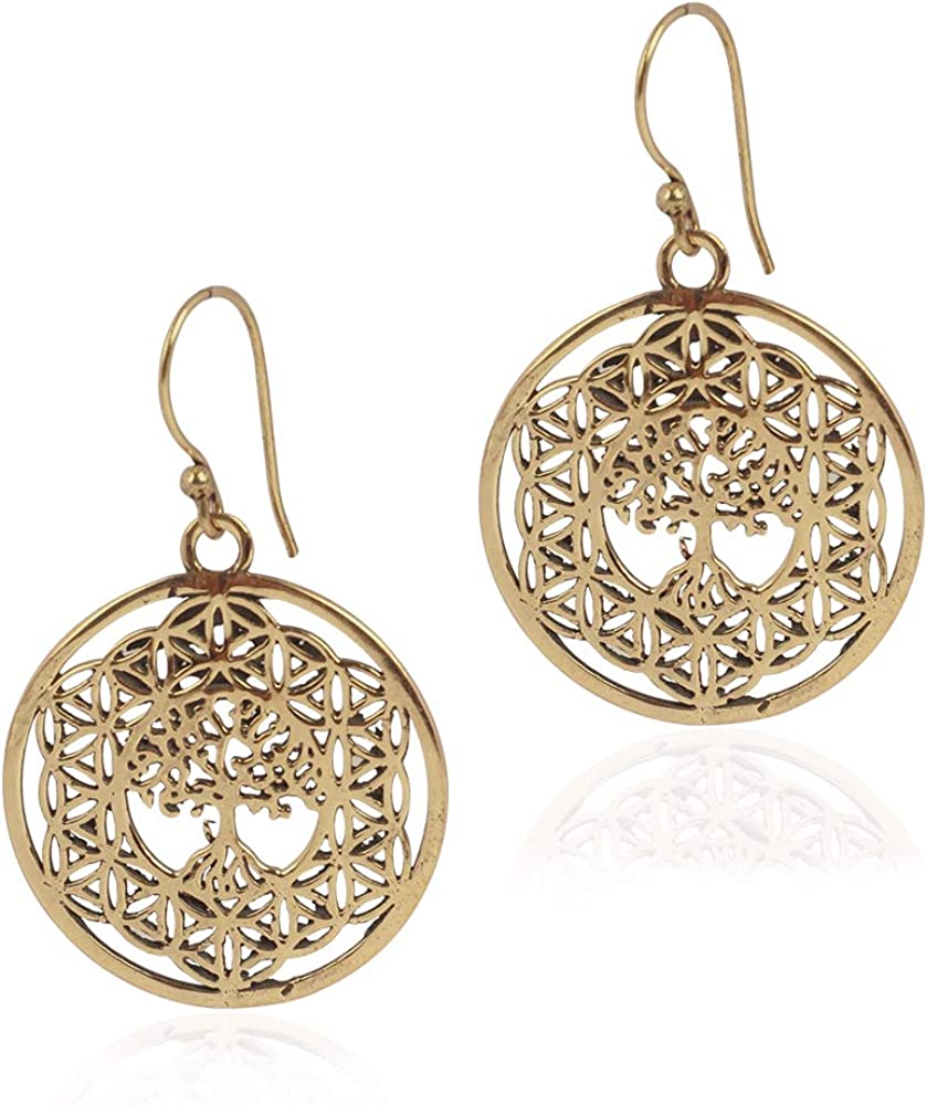 silver dangle earrings with flower of life design,flower of life jewelry,silver jewelry,drop earrings,gypsy earrings,boho earrings,boho chic