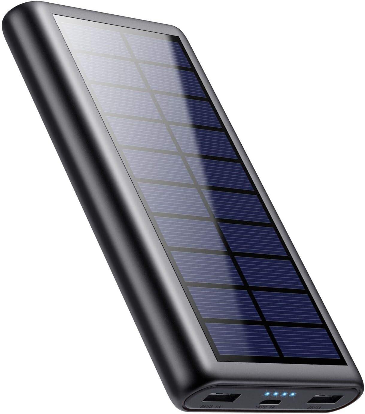 QTshine Solar Powerbank 26800 mAh, batería externa, cargador solar con 2 salidas compatible con todos los smartphones, tablets y dispositivos USB
