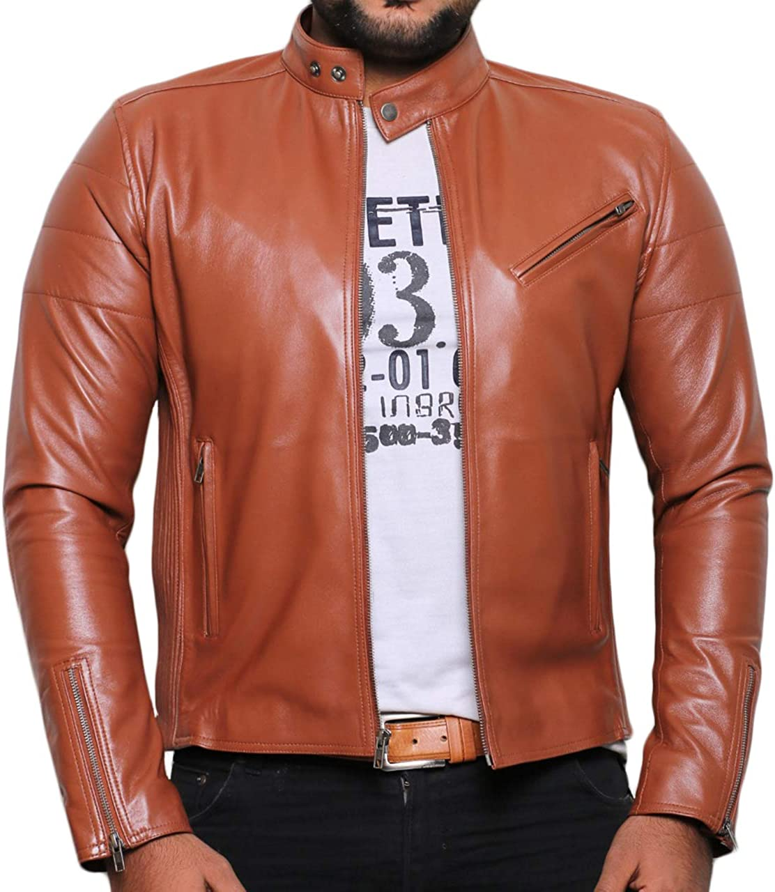 Laverapelle Mens Genuine Lambskin Leather Jacket 1501008 Black, Biker Jacket