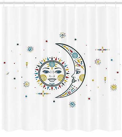 Sol Y Luna Cortina De Ducha Por Ambesonne Boho Chic Estilo Sol Y