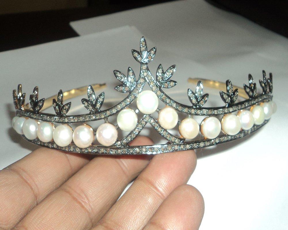 Pave Rose Cut Diamond Tiara - Wedding Rose Cut Diamond Crown - 925 Sterling Silver Tiara Crown - Diamond 925 Silver Tiara - Handmade Tiara - Hair Jewelry