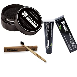 Cleaner Smile - Charcoal Teeth Whitening Dental Bundle | Toothpaste, Toothbrush, and Tooth Powder