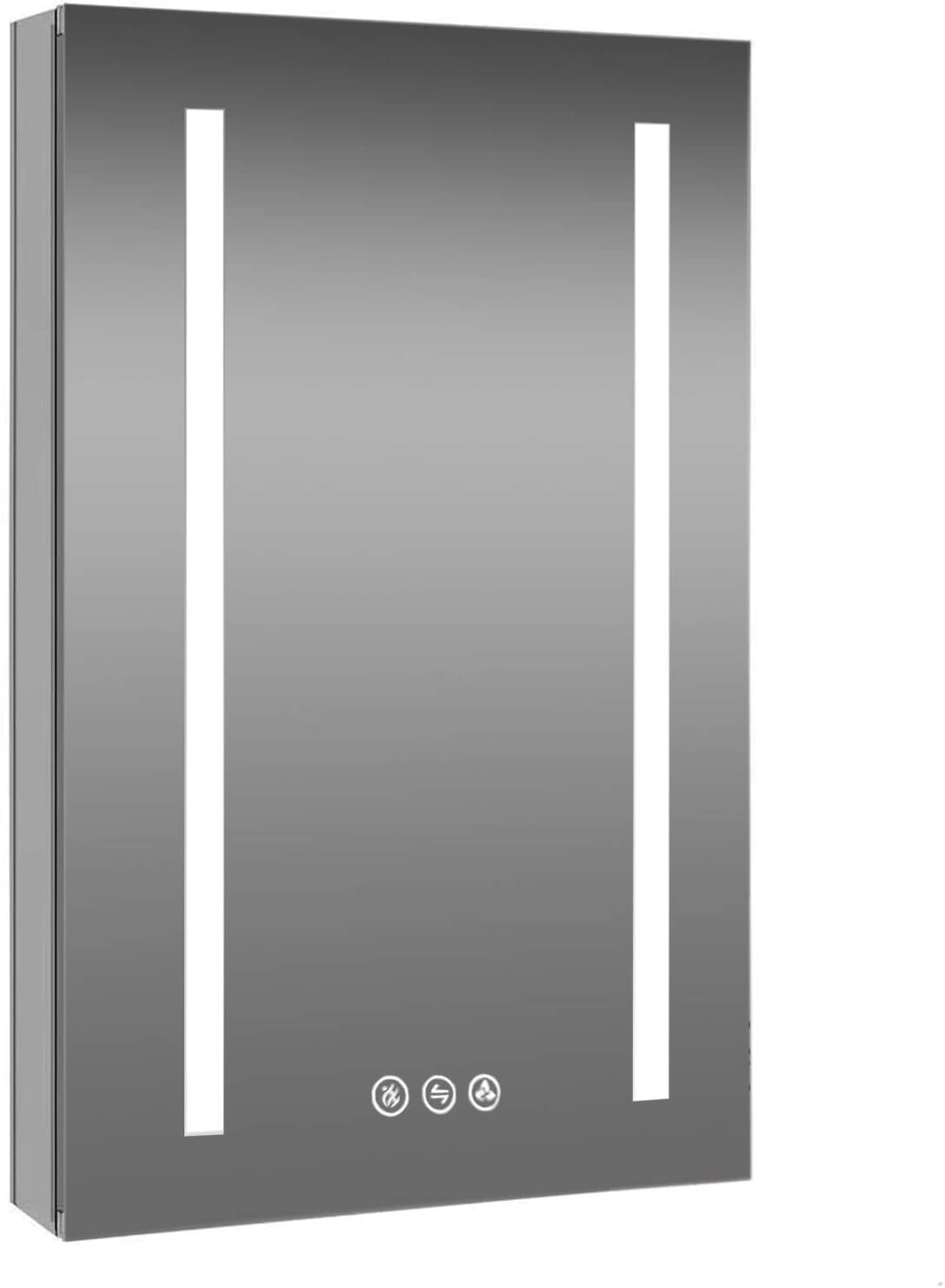 Recessed or Surface 24 Inch LED Mirror Medicine Cabinet with Defogger, Dimmer, Outlets & USB Ports (24x32/Right Hinge)
