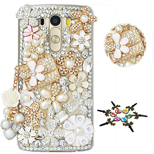 Flowers Gold Bag - STENES LG Tribute Dynasty Case - STYLISH - 100+ Bling - 3D Handmade Bag Pearl Flowers Pendant Floral Design Protective Case for LG Tribute Dynasty - Gold