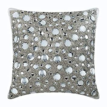 Amazon.com: Fundas de almohada de plata hechas a mano de ...