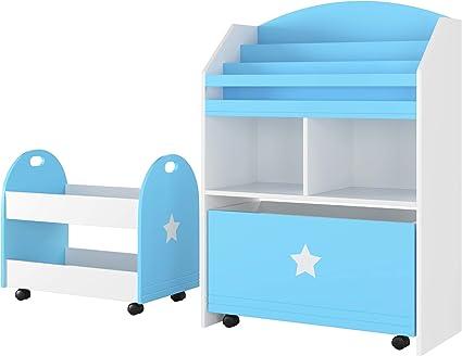 libreria con Tasche Colorate Porta riviste per Bambini Libreria per Libri per Bambini per riporre Libri per Camera dei Bambini Libri per Bambini 4 Scomparti scaffale a 4 Livelli