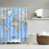 High Quality GWELL Shower Curtain Polyester Fabric Waterproof/Mildew Resistant  Antibacterial Bathroom Curtain Set W/