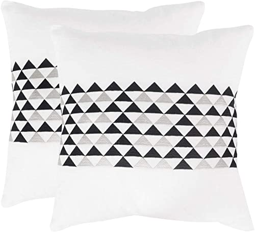 Safavieh Pillow Collection Throw Pillows, 20 by 20-Inch, Geo Mountain Slate, Set of 2