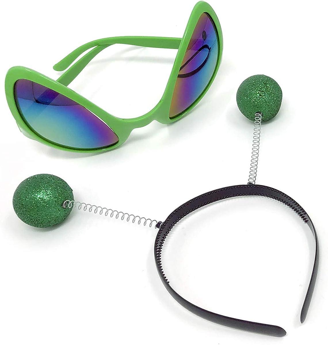 Enjoy The Life Juego de diademas para disfraz de marciano, accesorios para la cabeza, gafas de sol para adultos y niños, color verde