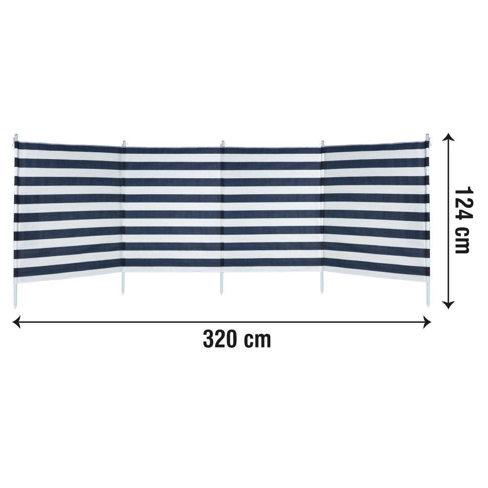 Paravientos 4 paneles rayas azules 3.2 x 2.5 x 1.24 m Aktive