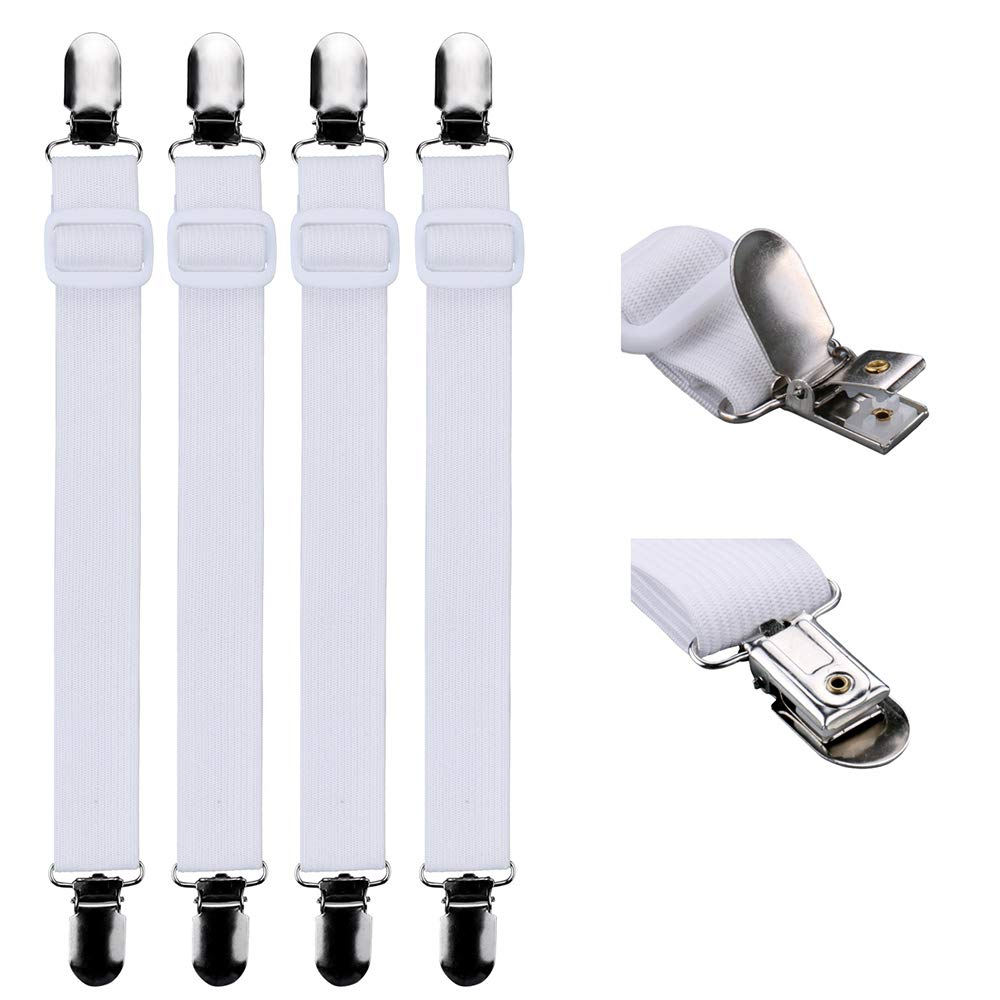 Luxbon 4Pcs Bed Sheet Fasteners Suspenders Adjustable Elastic Cover Grippers Suspenders Holder Band Straps Clips for Fitted Bed Sheets, Mattress Pad Covers, Sofa Cushion (White)