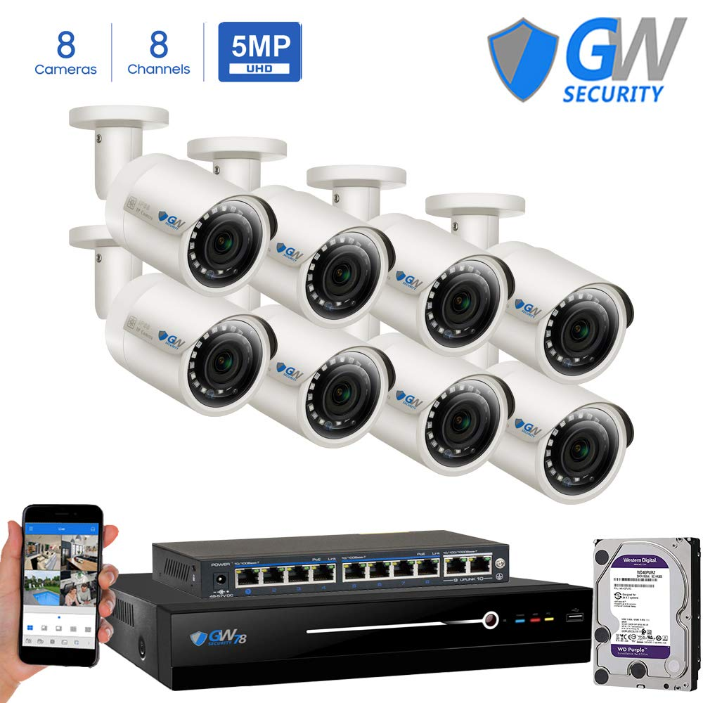 GW Security Super HD 8 Channel 4K NVR Security System with 8 IP H.265 5MP (2.5 X 1080P) PoE Security Cameras, 100ft Night Vision, 2 TB HDD by GW Security
