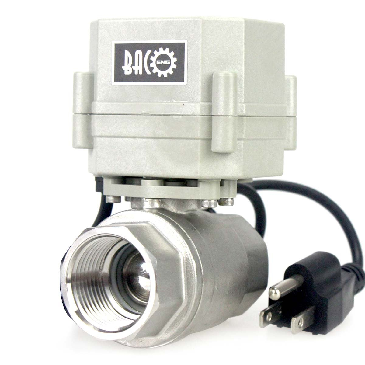 BACOENG 1'' DN25 110VAC Stainless Steel Motorized Ball Valve 2 Way/Zone Valve With US Plug(NC CR202 2 Wires Control Electrical Ball Valve)