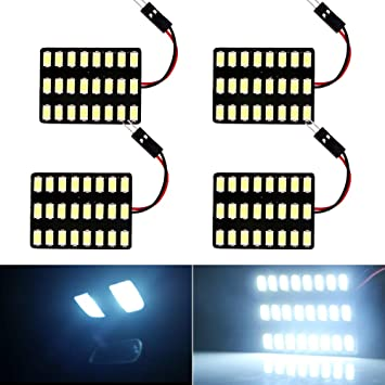 Everbright 4-Pack Super White 5050 36-SMD LED Panel Dome Lamp Car Interior Reading Plate Light Roof Ceiling Interior Wired Lamp With 4 x BA9S Adapter,4 x T10 Adapter,4 x Festoon Adapter DC-12V