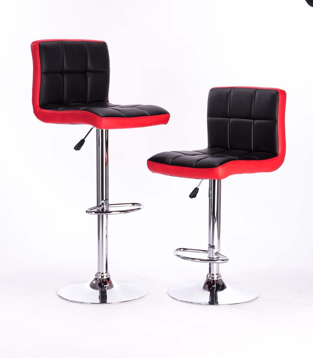 Attraction Design Black Red Modern Adjustable Synthetic Leather Swivel Bar Stools Chairs -Sets of 2