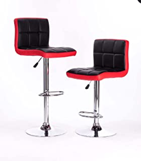 Black U0026Red Modern Adjustable Synthetic Leather Swivel Bar Stools Chairs   Sets ...