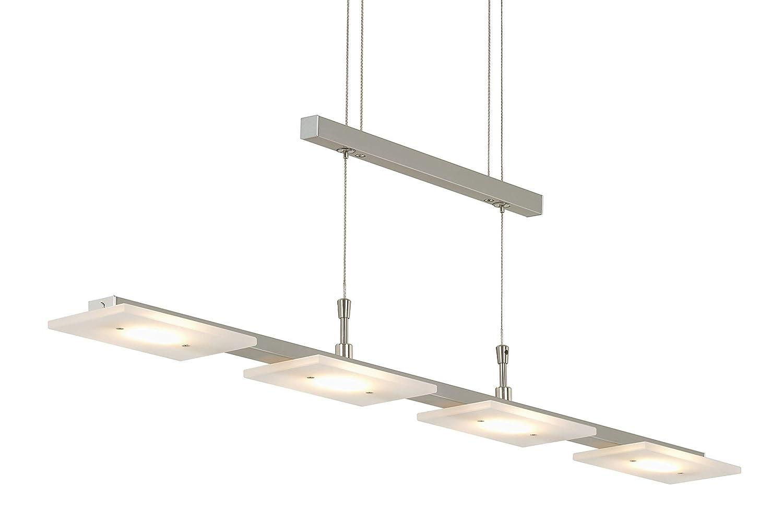 Briloner Leuchten Suspension LED réglable en hauteur en métal, design nickel mat IP20, 20 W, 88 x 90-175 cm