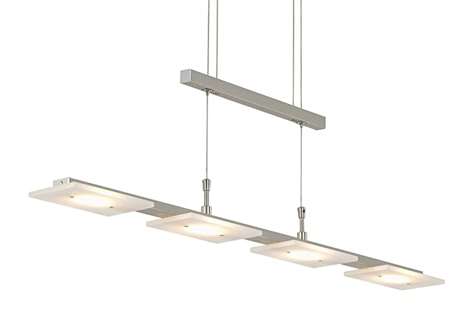 Briloner Leuchten - Lámpara LED de techo (regulable, altura regulable, metal y níquel mate, IP20, 20 W, 88 x 90-175 cm)