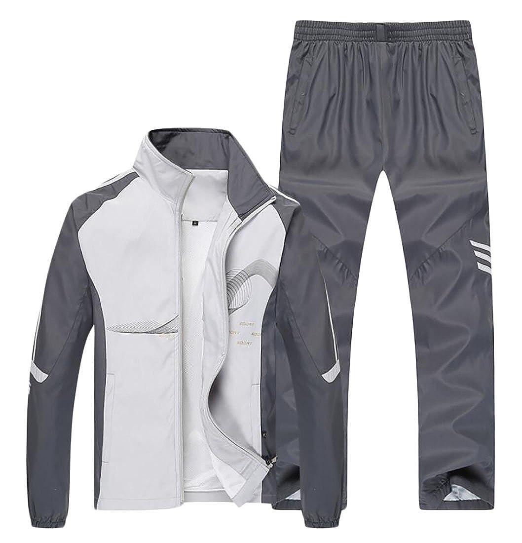 ouxiuli Men Sport Set Jogging Sweat Suits Casual Tracksuits Zip up Jacket Pants Grey L