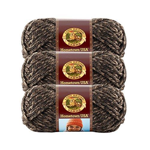 (3 Pack) Lion Brand Yarn 135-215 Hometown USA Yarn, Little Rock Granite