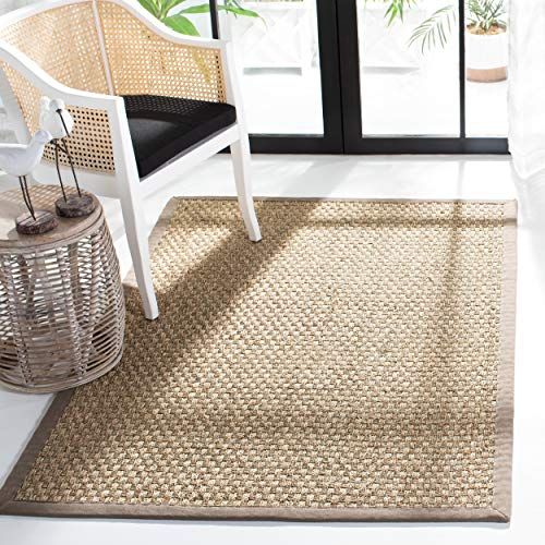 Safavieh Natural Fiber Collection NF114P Basketweave Natural and Grey Summer Seagrass Area Rug 6 x 9