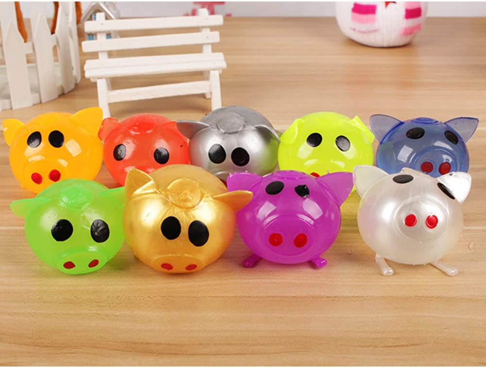 10 Pack Vercico Silly Squeeze Toys Kawaii Pig Jelly Pig Stress Relief Smash-It Soft Rubber Water Ball Splat and Sticky Balls Toy Gift for Children Adult Random Color