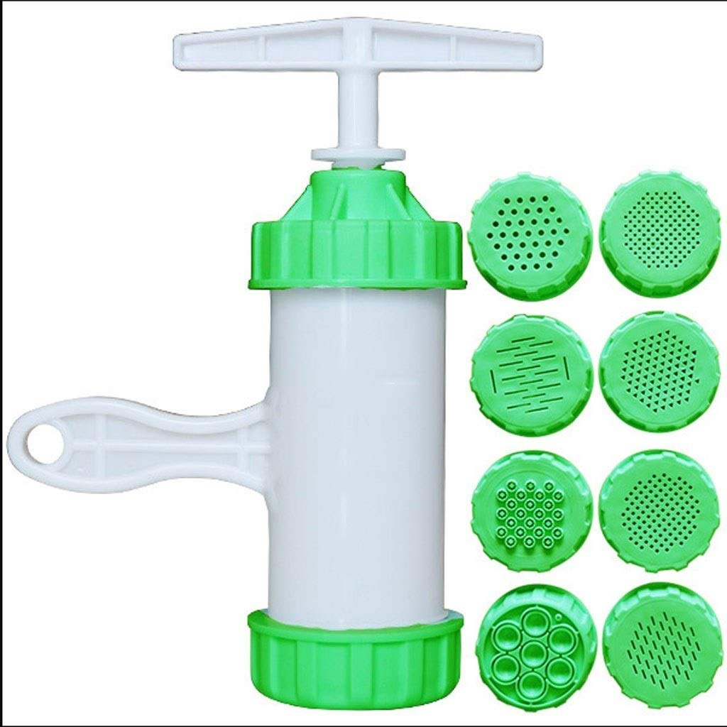 1set Plastic Noodle Maker with 8 Models Manual Noodle Press Pasta Press Machine Kitchen Tool (Color : Green) by DUOER home-Pasta Machines