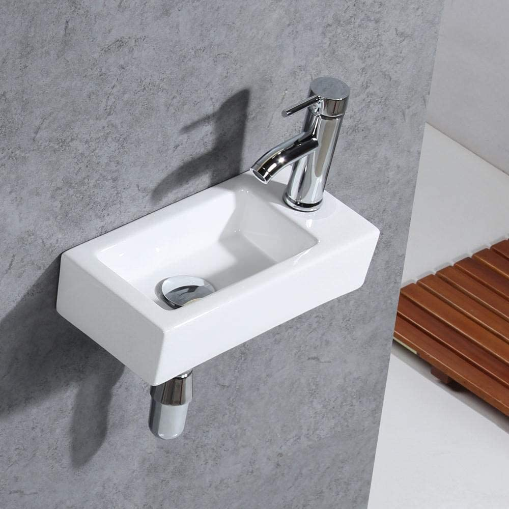Gimify Bathroom Corner Wall Mount Sink Ceramic White For Small Bathroom Right Hand Sink Only Amazon Com