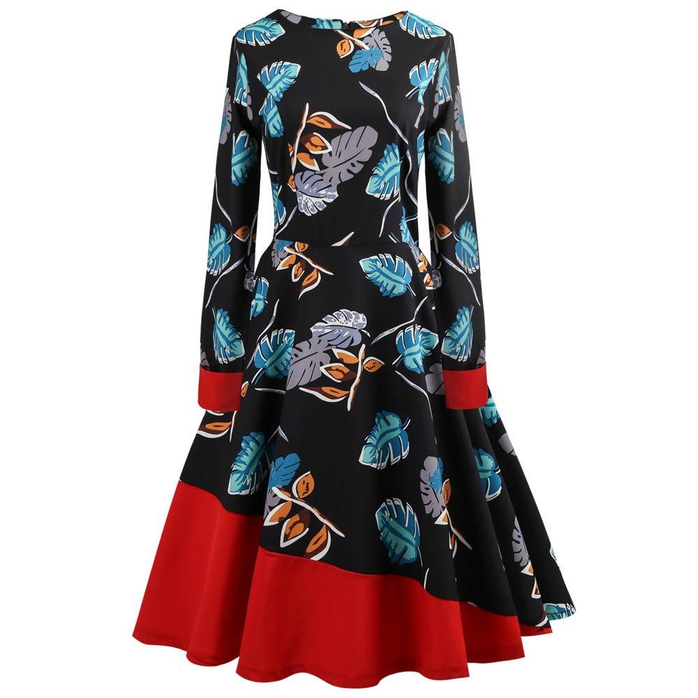 Women's 50S 60S Vintage Dresses Long Sleeve Print Swing Cocktail Dress