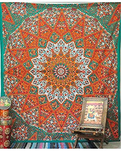 Green Tapestry - GLOBUS CHOICE INC. Sea Green Red Hippie Tapestry Hippy Mandala Bohemian Tapestries Indian Dorm Decor Psychedelic Home Decorative